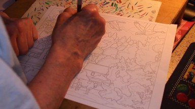 Coloring an Autumn Farm Scene with Colored Pencils (Soft-Spoken)