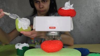 🎧 Binaural Fun with Shaving Cream, Scourers, and a Sponge! (No Talking) 🧽
